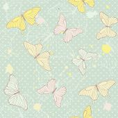 Delicate seamless pattern with butterflies