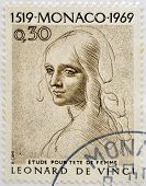 A stamp printed in Monaco shows Study for Woman's Head by Leonardo da Vinci