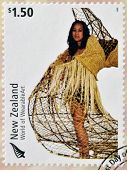 stamp dedicated to World of Wearable Art shows Taunga Ika by Louise Neilson