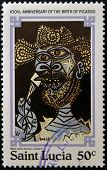 stamp printed in Saint Lucia shows man with an ice-cream by Pablo Ruiz Picasso
