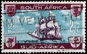 A stamp printed in South Africa dedicated to British Settlers Monument Grahamstown