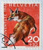 a stamp printed in Switzerland shows Red Fox Vulpes Vulpes