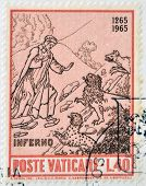 stamp dedicated to Anniversary of Birth of Dante shows Dante entrance to the inferno