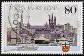 stamp dedicated to the 2000th anniversary of Bonn and the 40th anniversary of capital West Germany