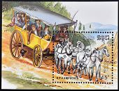 A stamp printed in the Republic of Kampuchea (Cambodia) shows horse and coach