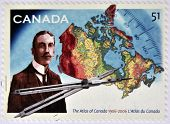 A stamp printed in Canada shows James White and atlas of Canada