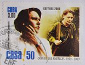 A stamp printed in Cuba shows Haydee Santamaria revolutionary and president of House of America
