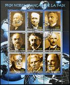 Collection stamp shows Nobel Peace prizes French