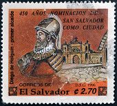Stamp printed in El Salvador shows Diego de Holguin first mayor of San Salvador
