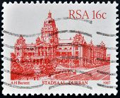 RSA - CIRCA 1987: A stamp printed in Republic of South Africa shows Stadsaal Durban circa 1987