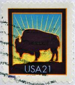 UNITED STATES OF AMERICA - CIRCA 2001: A stamp printed in USA shows a bison circa 2001
