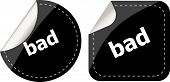 Bad Word On Black Stickers Button Set, Label