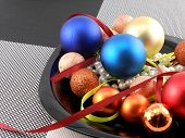 Decorative Christmas Ball And Pearls On A Plate, New Year Holiday