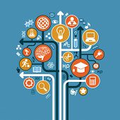 stock photo of education  - abstract tree with icons - JPG