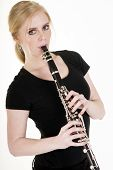 Pretty Blond Woman Playing Clarinet Musical Performance White Background