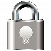Light Bulb Icon On Vector Lock