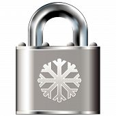 image of pick-lock  - Snowflake icon on secure vector lock button - JPG