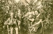 GANSERNDORF, AUSTRIA, CIRCA 1930s: Vintage photo of farmers family in Tyrolean outfit, Ganserndorf,