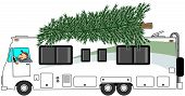 foto of motorhome  - This illustration depicts a large Christmas tree on top of a class A motorhome - JPG