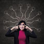 Business Woman Thinking Many Ideas