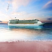 pic of off-shore  - Cruise ship just off the coast of an island with tranquil view - JPG