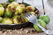 pic of fried onion  - Fried Brussel Sprouts with Ham and Onions - JPG