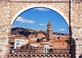 Town seen through aqueduct, Teruel, Spain.