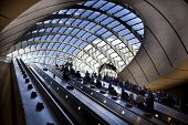 LONDON, UK - MAY 14, 2014: London tube, Canary Wharf station, busiest station in London, bringing ab