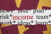The word income against wine paper strewn over orange