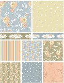 Shabby Chic Rose Floral Vector Patterns.  Use as pattern fills to create stunning items for art and craft projects.