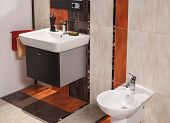 Interior Of Modern Bathroom With Sink And Bidet