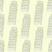Sketch Pisa Tower, Vector Seamless Pattern