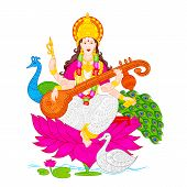 foto of saraswati  - easy to edit vector illustration of Goddess Saraswati - JPG