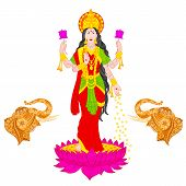 stock photo of lakshmi  - easy to edit vector illustration of Goddess Lakshmi - JPG