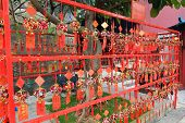 MACAU - APRIL 14 : Red Prayer Papers and Remembrances with Bells at A-Ma Temple on April 14, 2013 in