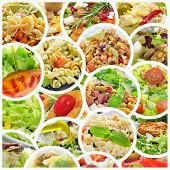 a collage of different salads, such as pasta salad, tabbouleh and eggs mimosa