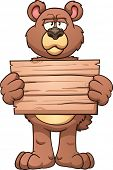 Serious cartoon bear holding a wooden sign. Vector clip art illustration with simple gradients. All