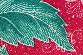 Thai Batik Sarong Of Green Leaf Pattern.