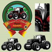 picture of truck farm  - vector label with a tractor for livestock and crop - JPG