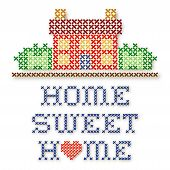 foto of cross-hatch  - Retro cross stitch embroidery design Home Sweet Home with a big red heart needlework house in landscape graphic isolated on white background - JPG