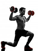 one man topless muscular exercising body building weights training in silhouettes on white backgroun