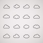 Vector cloud icons shapes set  for computing web and app