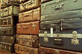 Leather Suitcases Stacked