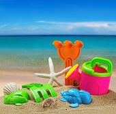 Toys For Childrens Sandboxes Against The Sea