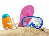 Beach Items On Sand Isolated