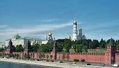 Moscow, Russia. The Grand Kremlin Palace And Kremlin Wall