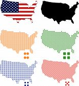 picture of united states map  - 4 different vector pixel map of USA - JPG