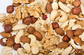 stock photo of cobnuts  - background of mixed nuts  - JPG