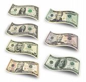 image of two dollar bill  - Collection of dollar banknotes - JPG