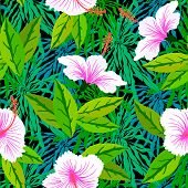 stock photo of hibiscus  - Vector seamless pattern with tropical decor - JPG